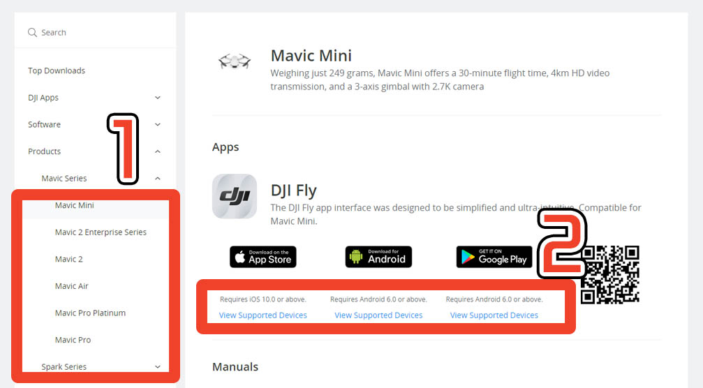 DJI Fly App Compatible list