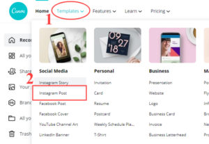 how to create instagram post at canva